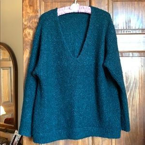 Free People Teal Snuggly Marled Knitted Sweater XL